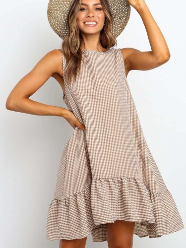 Fashion Round neck Plaid Sleeveless Shift Dresses