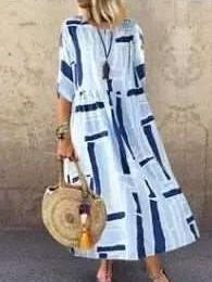 Casual Loose Print Round neck Half sleeve Maxi Dresses