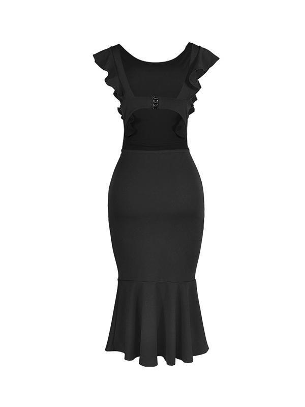 Sexy Sleeveless Slim Round Neck Backless Bodycon Dresses