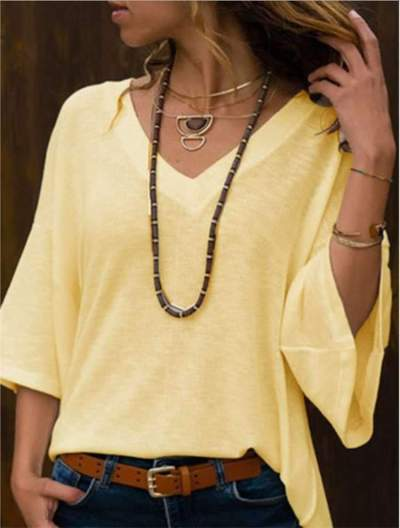 Loose Pure V neck Mandarin sleeve T-Shirts