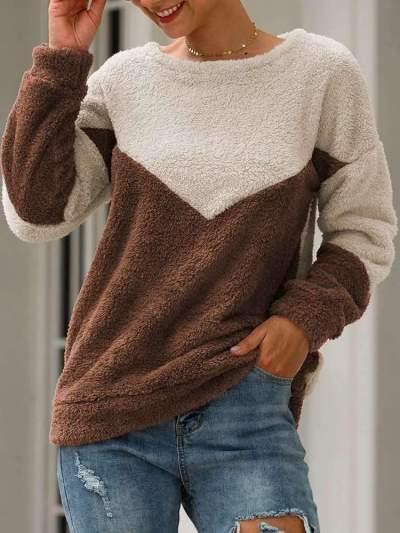 Fashion Casual Gored  Plush Round neck Long sleeve Sweatshirts