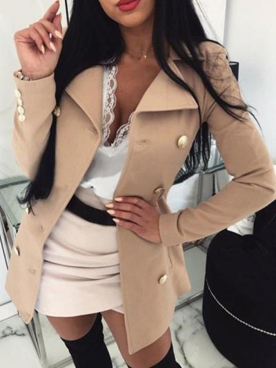 Women long style turn down neck trench coats