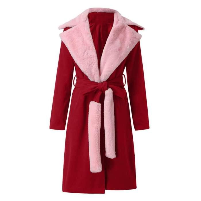 Fashion Lapel Long sleeve Plush Belt Coats