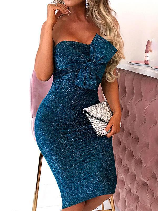 Sexy off shoulder women bowknot decoration evening bodycon dresses