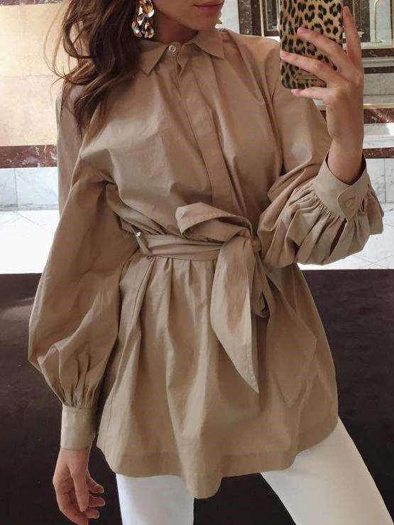 Fashion Pure Lacing Lapel Puff sleeve Blouses