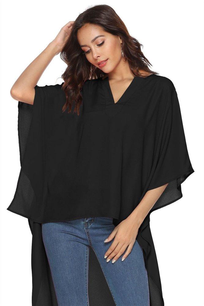 Fashion V neck Batwing sleeve Blouses
