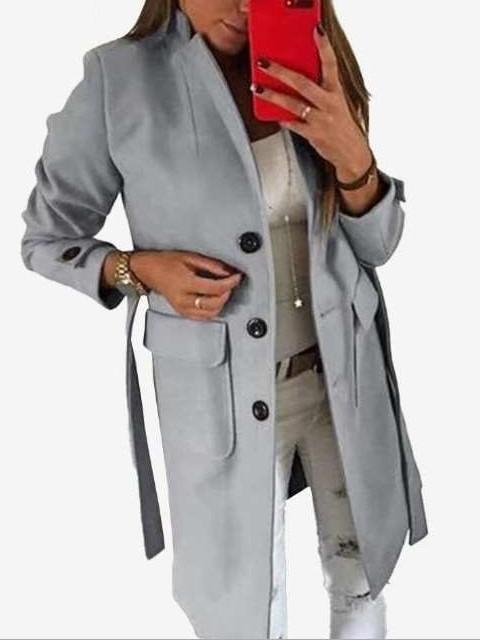 Fashion Pure Stand collar Long sleeve Fastener Belt Trench Coats