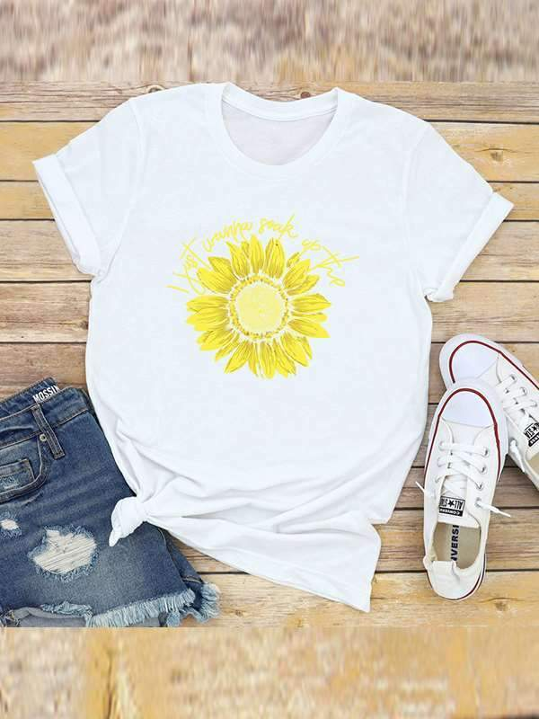 Round neck Short sleeve Floral printed T-shirts