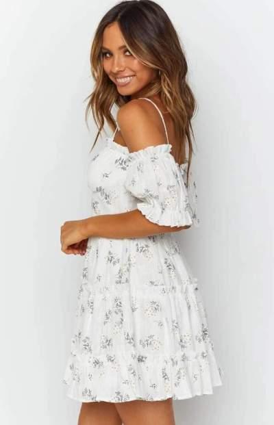 Fashion Casual Print Vest One shoulder Short sleeve Shift Dresses