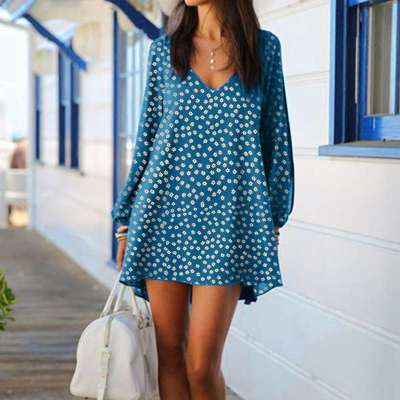 Casual Loose Point print V neck Long sleeve Off shoulder Shift Dresses