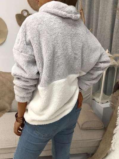 Fashion Gored Plush High collar Long sleeve Sweatshirts