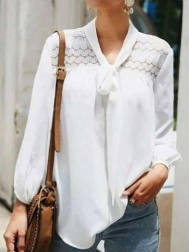 Fashion Pure Lace Lacing V neck Long sleeve Blouses
