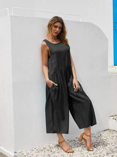 Casual Loose Pure Round neck Sleeveless Backless Jumpsuits