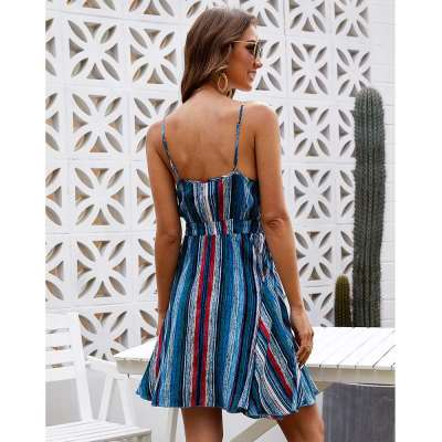Fashion V neck Stripe Vest Lacing Skater Dresses