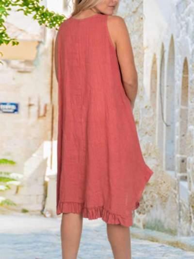 Casual Loose Pure Round neck Sleeveless Falbala Maxi Dresses