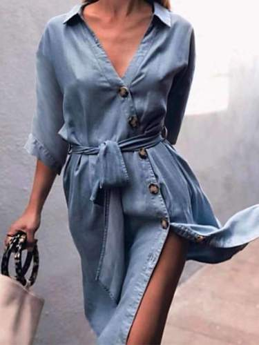 Casual Blue Denim Button Waist Tie Shift Dresses