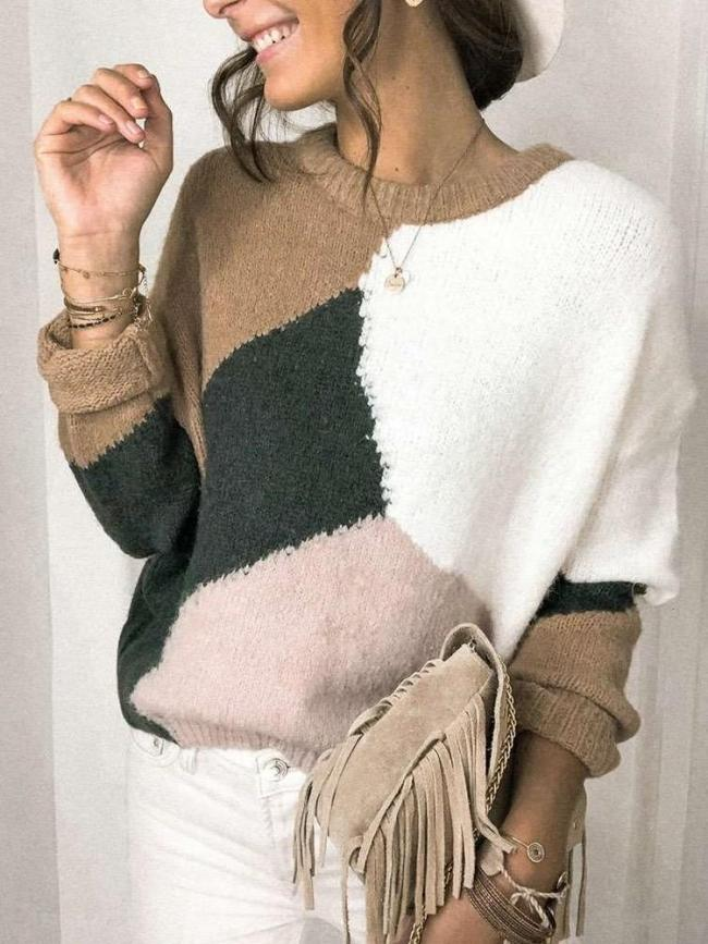 Fashion Gored Print Round neck Long sleeve Knit Sweaters