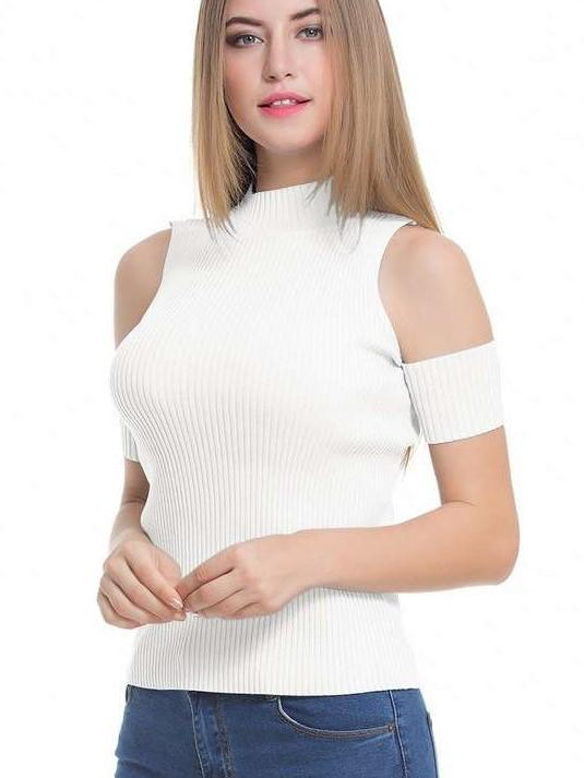 Fashion Pure Off shoulder High collar Knit Sweaters