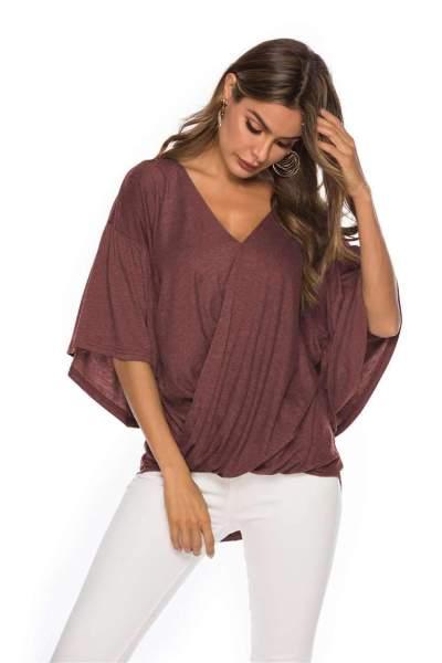 Fashion V neck Falbala T-Shirts