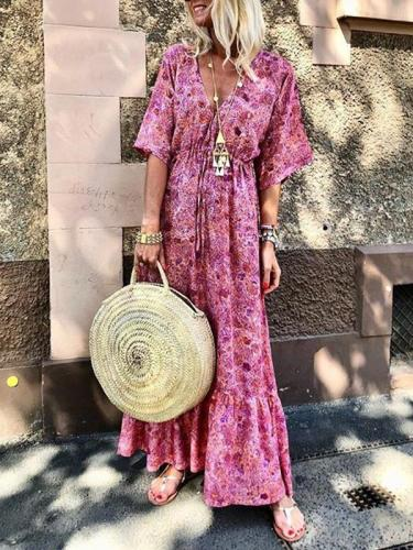 Stylish bohemia holiday floral chiffon v neck vacation dresses