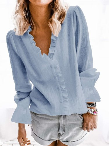 Fashion Pure V neck Stringy selvedge Long sleeve Blouses