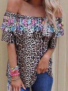 Fashion Leopard Print One shoulder Sleeveless T-Shirts