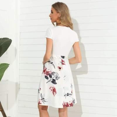 Fashion Print Gored Short sleeve Round neck Skater Dresses