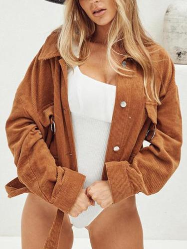 Long sleeve corduroy turn down collar women jackets