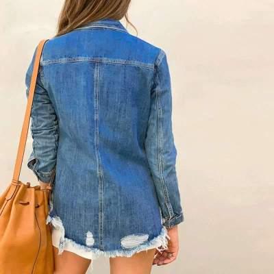 Fashion Purl Lapel Long sleeve Jeans Jackets