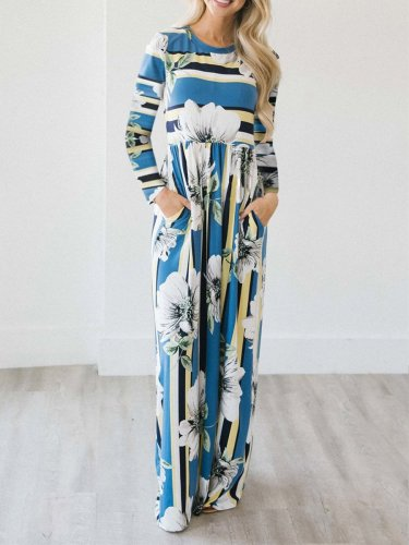 Striped Print Long Sleeve Casual Maxi Dress for Women