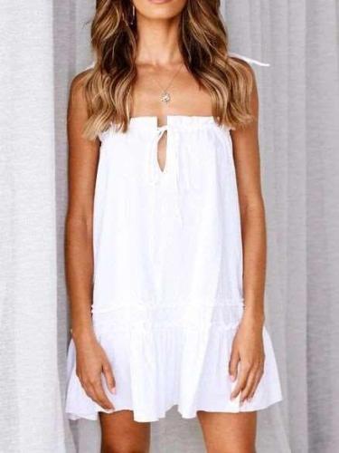 Fashion Pure One shoulder Falbala Sleeveless Shift Dresses