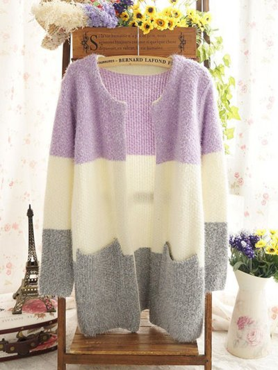 Color-block H-line Knitted Long Sleeve Cardigan