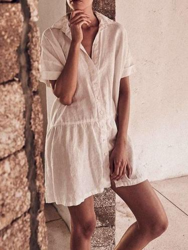 Fashion Casual Pure Lapel Pure Short sleeve Skirt Shift Dresses