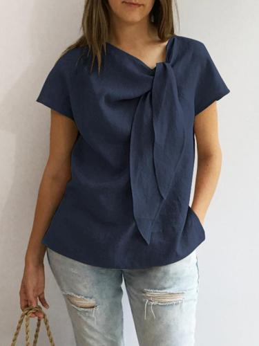 Loose Casual vintage plain o-neck blouses