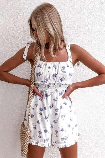 Fashion Casual Print Vest Stringy selvedge Jumpsuits