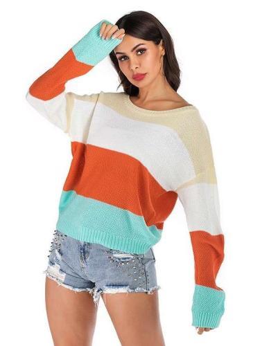Fashion Knit Stripe Gored Sweaters