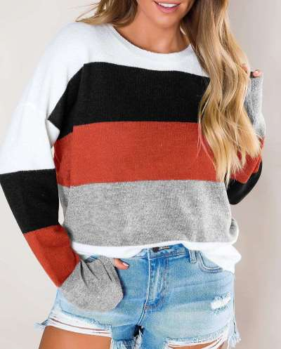 Fashion Casual Stripe Round neck Long sleeve Knit T-Shirts