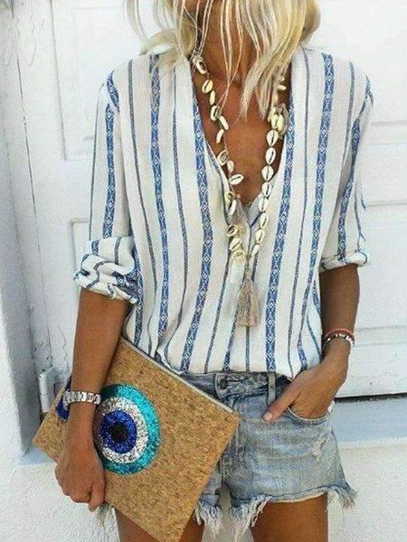 Casual Stripe Long sleeve Blouses
