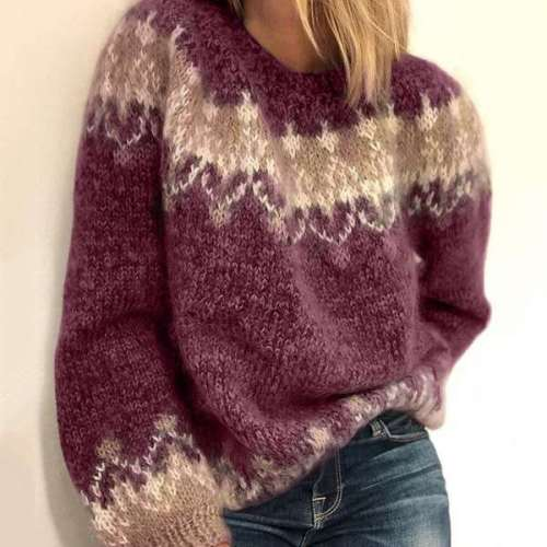 Fashion Casual Print Round neck Long sleeve Knit Sweaters