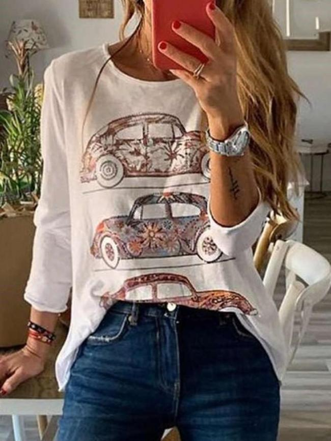 Fashion Round neck Long sleeve Print T-Shirts