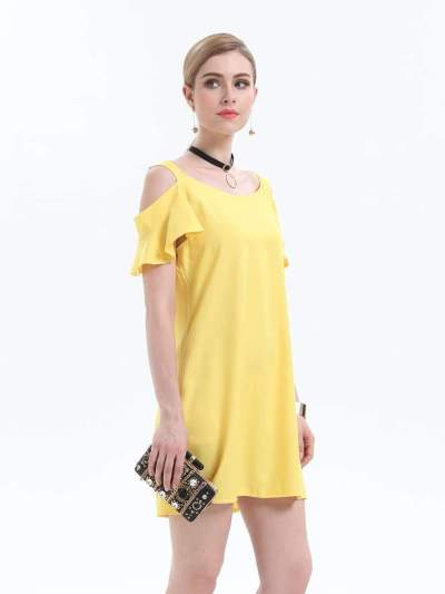 Fashion Pure Off shoulder Short sleeve Vest Shift Dresses