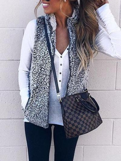 Two Colors Faux Fur Collar Zipper Plain Woman Vests