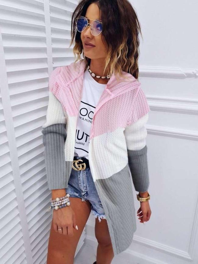 Fashion Knit Hoodies Long sleeve Coats