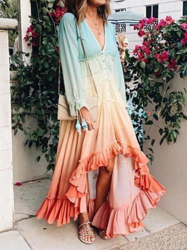 Long sleeve women fashion long vacation dresses