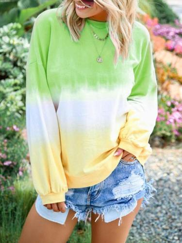 Rainbow printed long sleeve round neck sweatshirts