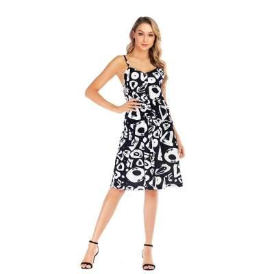 Casual Print Backless Vest Shift Dresses