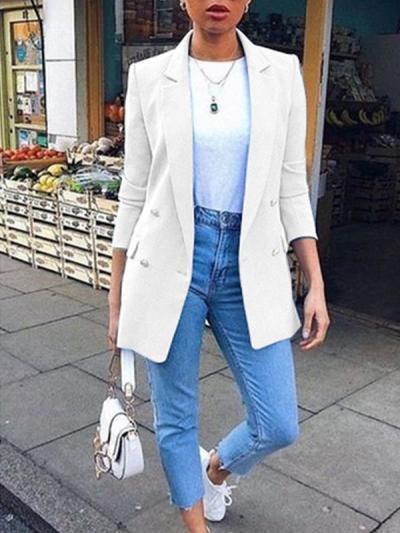 Women plain turn down collar long sleeve button blazers