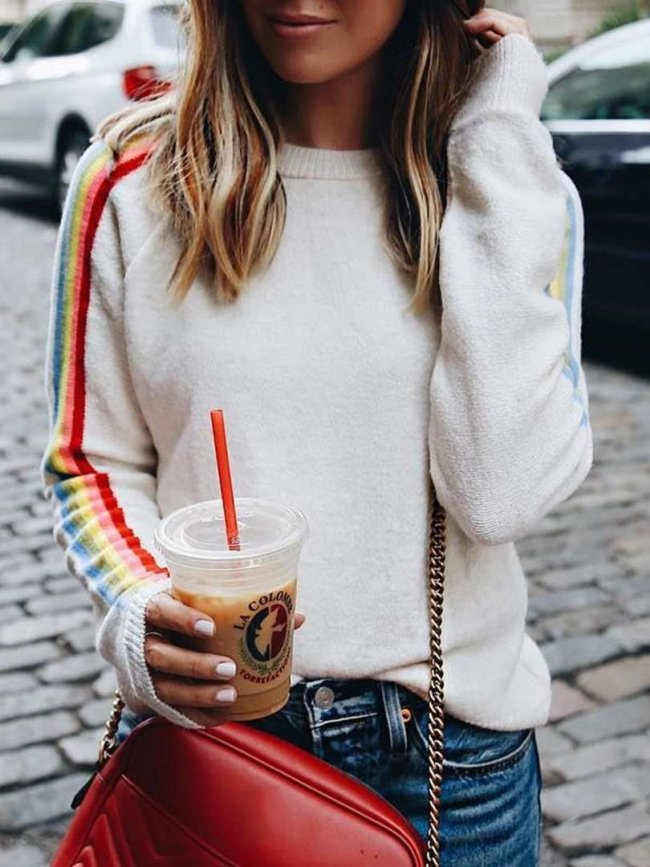 Fashion Stripe Round neck Long sleeve Knit Sweaters