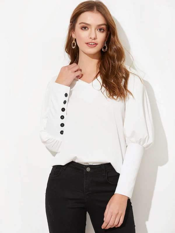 Pure Single-breasted Blouses
