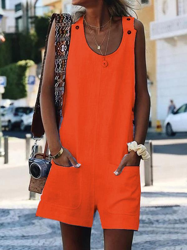 Plus size pocket button cotton and linen jumpsuits